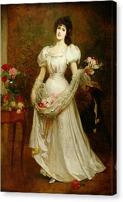 Portrait Of A Woman And Her Greyhound Canvas Print by English School