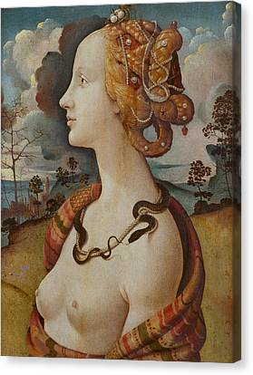 Portrait Of A Woman Called Simonetta Vespucci Canvas Print by Piero di Cosimo
