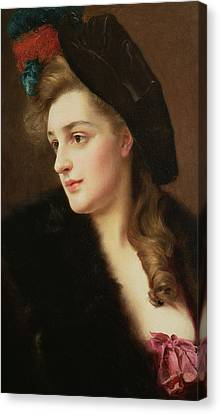Portrait Of A Woman In A Hat Canvas Print by Gustave Jacquet