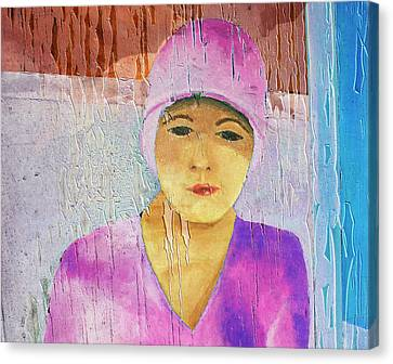 Portrait Of A Woman On A Downtown Wall Canvas Print by Louis Nugent