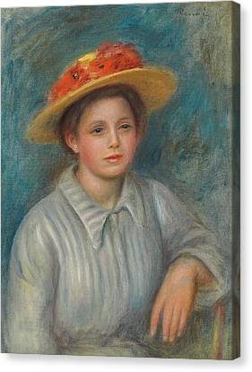 Portrait Of A Woman With A Hat With Flowers Canvas Print by Pierre Auguste Renoir