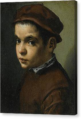 Portrait Of A Young Boy Bust Length Facing Left Dressed In A Maroon Doublet And Cap Canvas Print by Michele Tosini