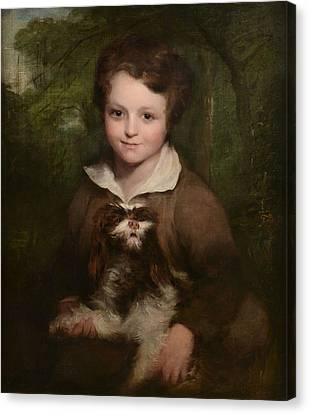 Portrait Of A Young Boy Holding A Dog Canvas Print by Richard Rothwell