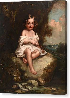 Portrait Of A Young Boy Sitting On A Rock Fishing Canvas Print by Richard Buckner