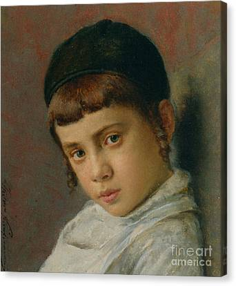 Portrait Of A Young Boy With Peyot  Canvas Print by MotionAge Designs
