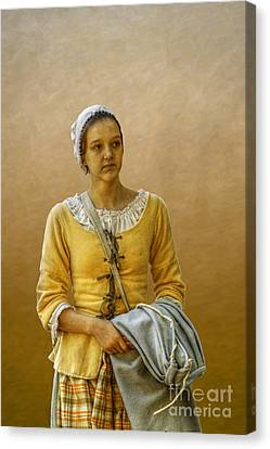 Portrait Of A Young Colonial Woman Canvas Print