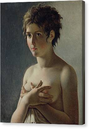 Portrait Of A Young Girl Canvas Print by Baron Pierre Narcisse Guerin