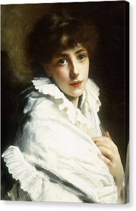 Portrait Of A Young Girl In White Canvas Print by Gustave Jacquet
