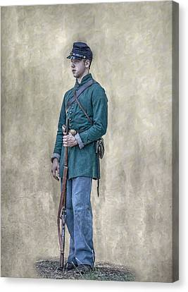 Battle Of Gettysburg Canvas Print - Portrait Of A Young Soldier Of Berdan's Sharpshooters by Randy Steele