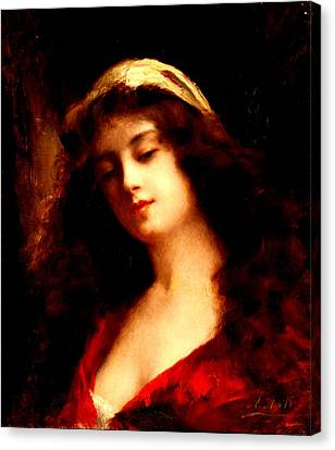 Portrait Of A Young Woman In Red Canvas Print