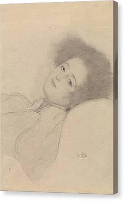 Portrait Of A Young Woman Reclining Canvas Print by Gustav Klimt