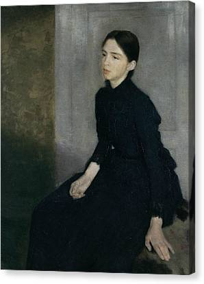 Portrait Of A Young Woman Canvas Print by Vilhelm Hammershoi