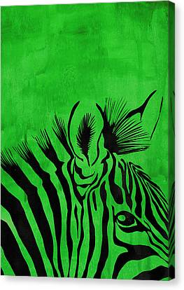 Green Zebra Animal Decorative Poster 6 - By Diana Van Canvas Print by Diana Van