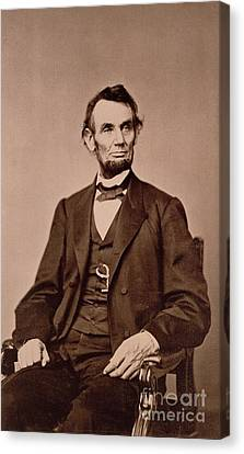 Waistcoat Canvas Print - Portrait Of Abraham Lincoln by Mathew Brady