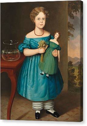 Portrait Of Amy Philpot In A Blue Dress With Doll And Goldfish Canvas Print by Joseph Whiting Stock