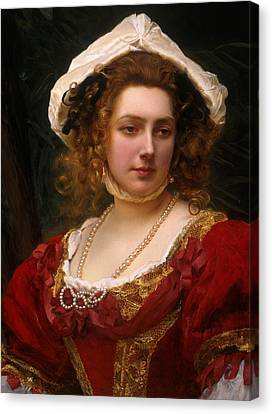 Portrait Of An Elegant Lady In A Red Velvet Dress Canvas Print by Gustave Jacquet