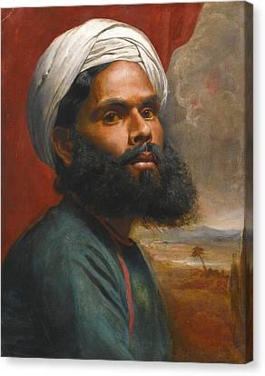 Portrait Of An Indian Sardar Canvas Print by Edwin Frederick Holt