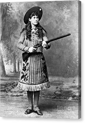 Portrait Of Annie Oakley Canvas Print by American School
