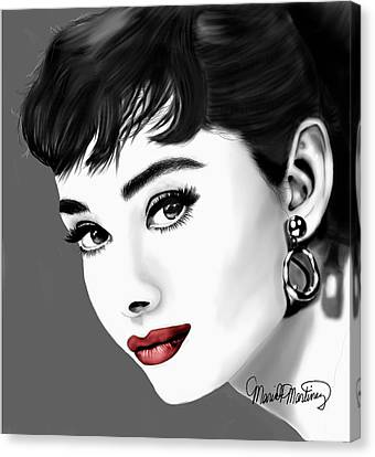 Portrait Of Audrey Hepburn Red Lips Canvas Print