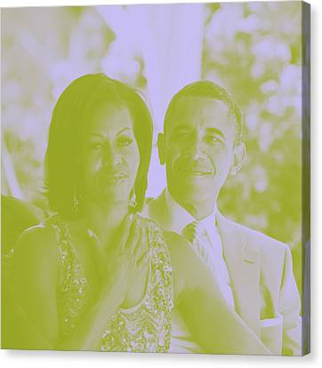 Portrait Of Barack And Michelle Obama Canvas Print
