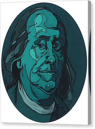 Portrait Of Benjamin Franklin Canvas Print by John Gibbs