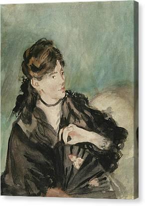 Portrait Of Berthe Morisot Canvas Print by Edouard Manet