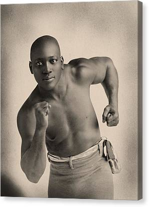 Portrait Of Boxer Jack Johnson Canvas Print by American School