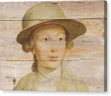 Mural Of Boy On Old Barn  Canvas Print by KJ DePace