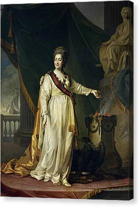Portrait Of Catherine II The Legislatress In The Temple Of The Goddess Of Justice Canvas Print