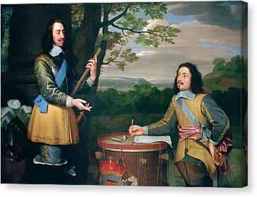 Portrait Of Charles I And Sir Edward Walker Canvas Print by English School