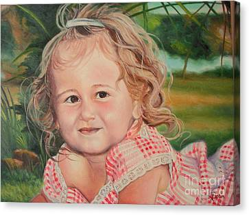 Canvas Print featuring the painting Portrait Of Child by Sorin Apostolescu