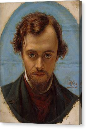 Portrait Of Dante Gabriel Rossetti At 22 Years Of Age Canvas Print by William Holman Hunt