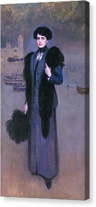 Portrait Of Dolors Vidal Canvas Print by Ramon Casas