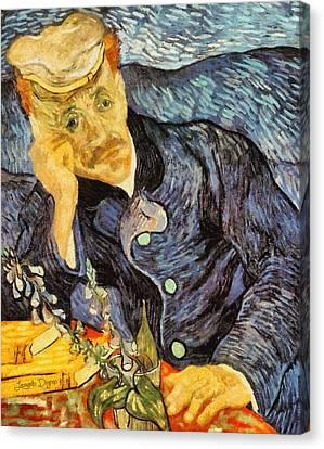 Portrait Of Dr. Gachet By Van Gogh Revisited - Da Canvas Print by Leonardo Digenio