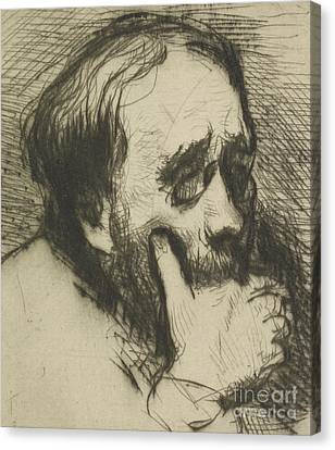 Chin On Hand Canvas Print - Portrait Of Edgar Degas by Marcellin Gilbert Desboutin