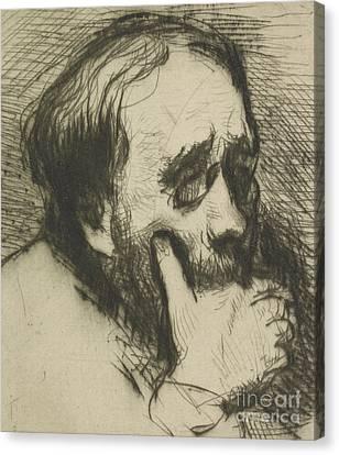 Portrait Of Edgar Degas Canvas Print by Marcellin Gilbert Desboutin
