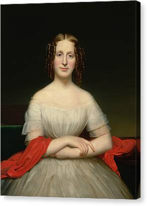Portrait Of Fidelia Marshall Canvas Print by Charles Cromwell Ingham