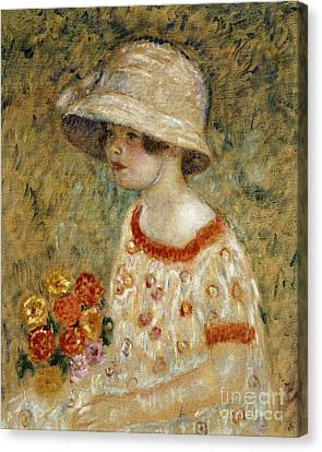 Youthful Canvas Print - Portrait Of Frances Kilmer by Frederick Carl Frieseke
