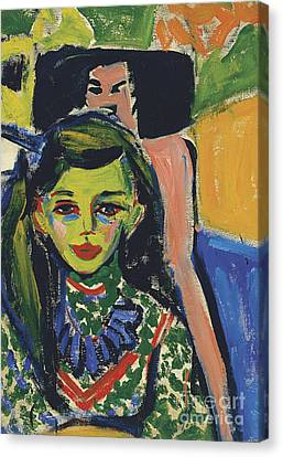 Portrait Of Franzi In Front Of Carved Chair Canvas Print by Ernst Ludwig Kirchner