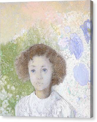 Youthful Canvas Print - Portrait Of Genevieve De Gonet As A Child by Odilon Redon