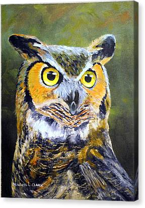 Portrait Of Great Horned Owl Canvas Print by Dennis Clark