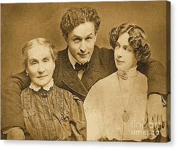 Portrait Of Harry Houdini With Is Mother And Wife Canvas Print