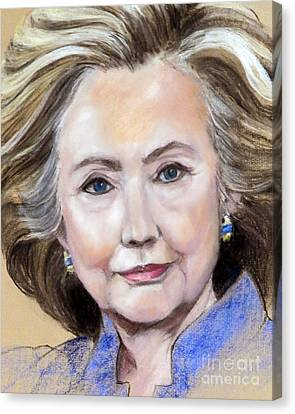Pastel Portrait Of Hillary Clinton Canvas Print by Greta Corens