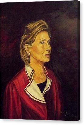 Portrait Of Hillary Clinton Canvas Print by Ricardo Santos-alfonso