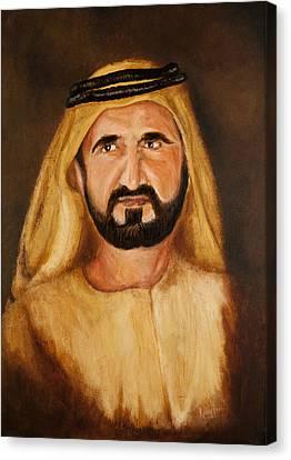 Portrait Of His Highness Sheikh Mohammed Bin Rashid Al Maktoum - Ruler Of Dubai Canvas Print by Remy Francis