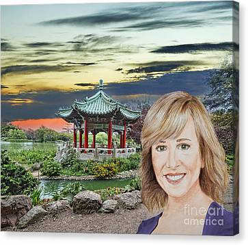 Johnny Carson Canvas Print - Portrait Of Jamie Colby By The Pagoda In Golden Gate Park by Jim Fitzpatrick