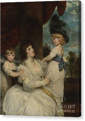 Portrait Of Jane, Countess Of Harrington, With Her Sons, The Viscount Petersham And The Honorable Li Canvas Print