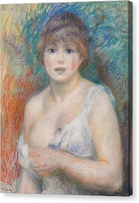 Portrait Of Jeanne Samary Canvas Print by Pierre Auguste Renoir