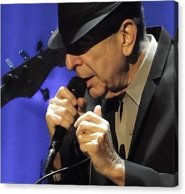 Portrait Of Leonard Cohen In Concert Canvas Print by John C Bourne