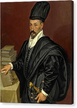 Portrait Of Lope Varona Di Villanahue Of Burgos Half Length With A Book In His Right Hand Canvas Print by Bartolomeo Passerotti